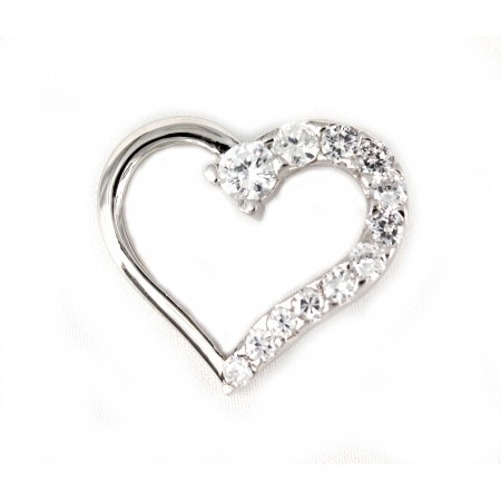 Pendant - 925 Sterling Silver Heart with Austrian crystals - NE-PPT8760